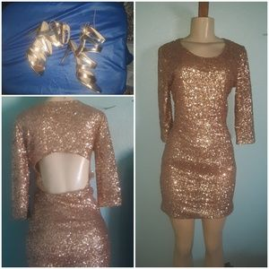 Lovers +Friends Gold Sequined Mini Dress